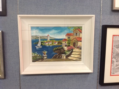 Framed painting of island