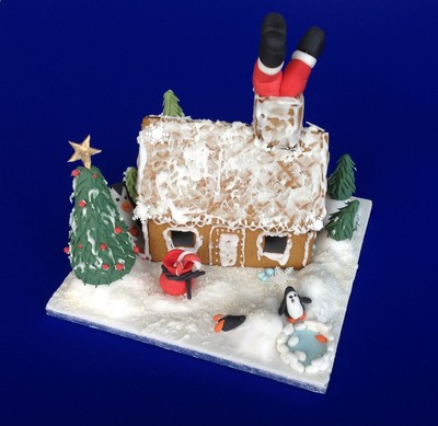Santa down the chimney cake